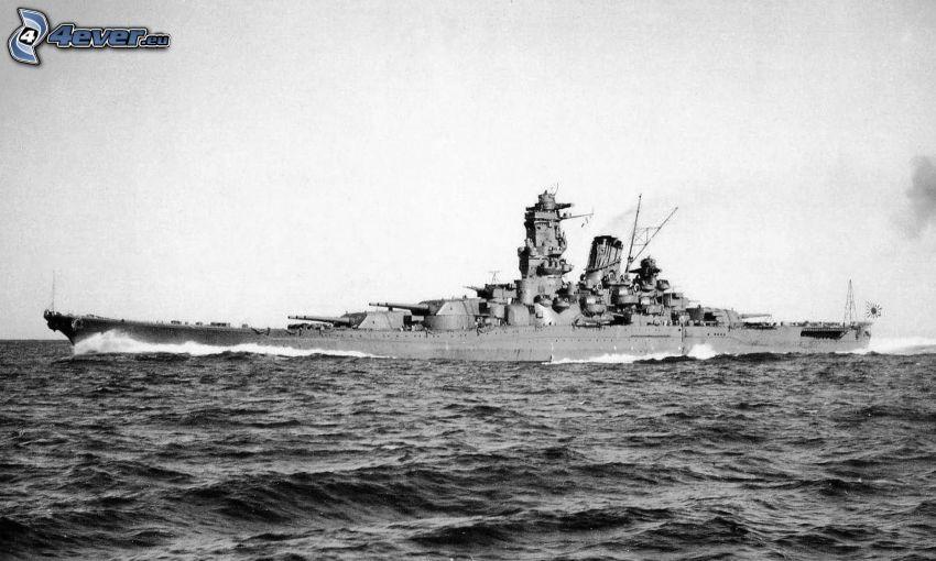 USS Idaho, czarno-białe zdjęcie