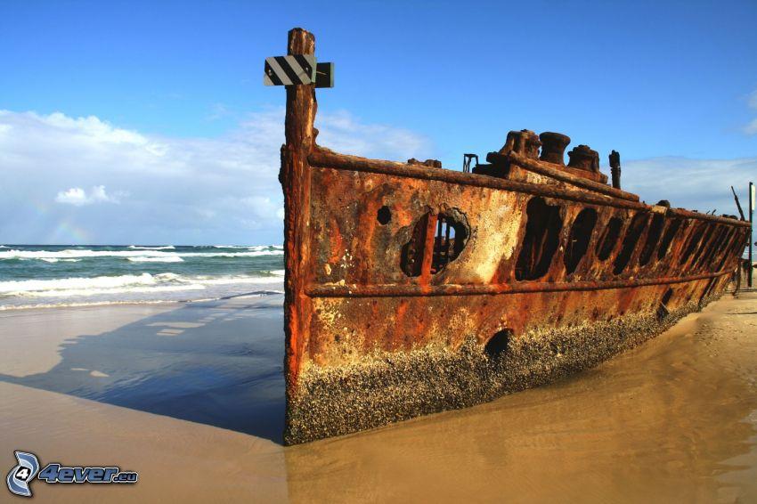 wrak łodzi, wybrzeże