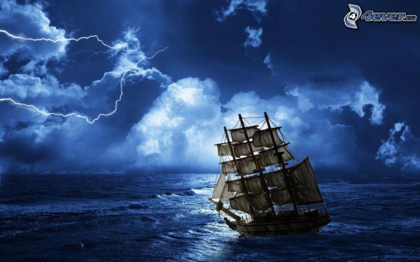żaglowiec, burza, morze