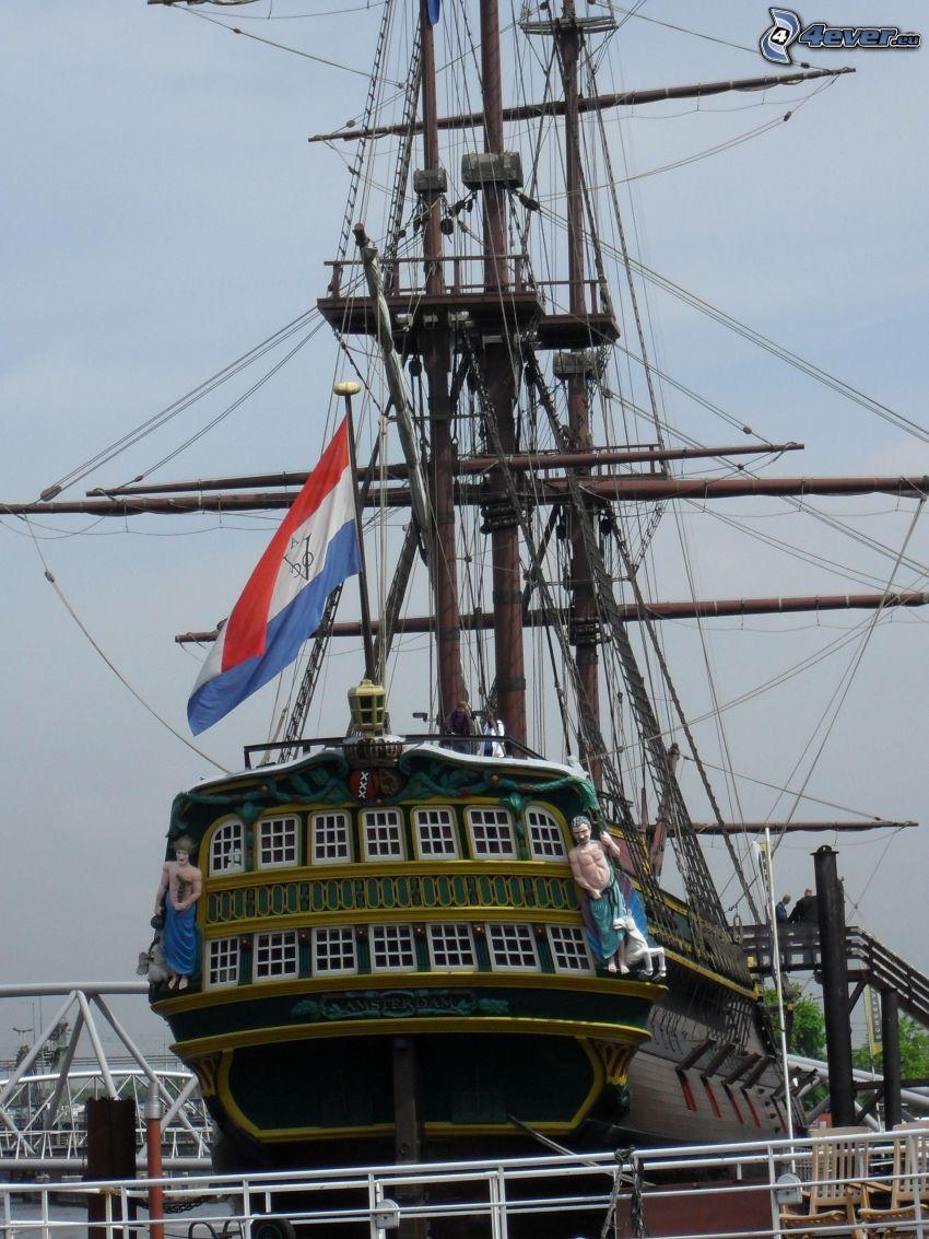 żaglowiec, statek, flaga