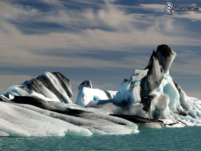 biegun północny, skały, lód
