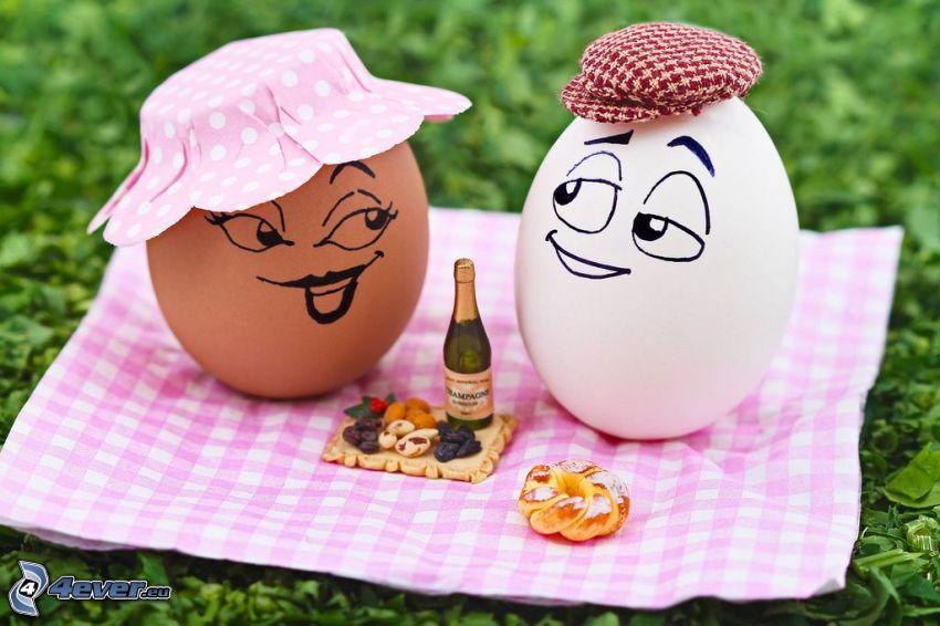 jajka, piknik, koc, kapelusz, czapka