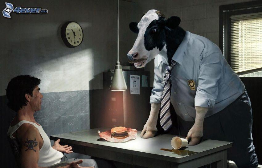 krowa, garnitur, mężczyzna