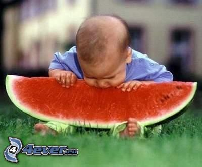dziecko, arbuz, trawa