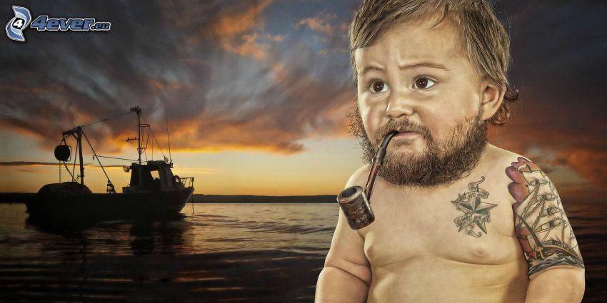 dziecko, marynarz, statek, fajka, broda