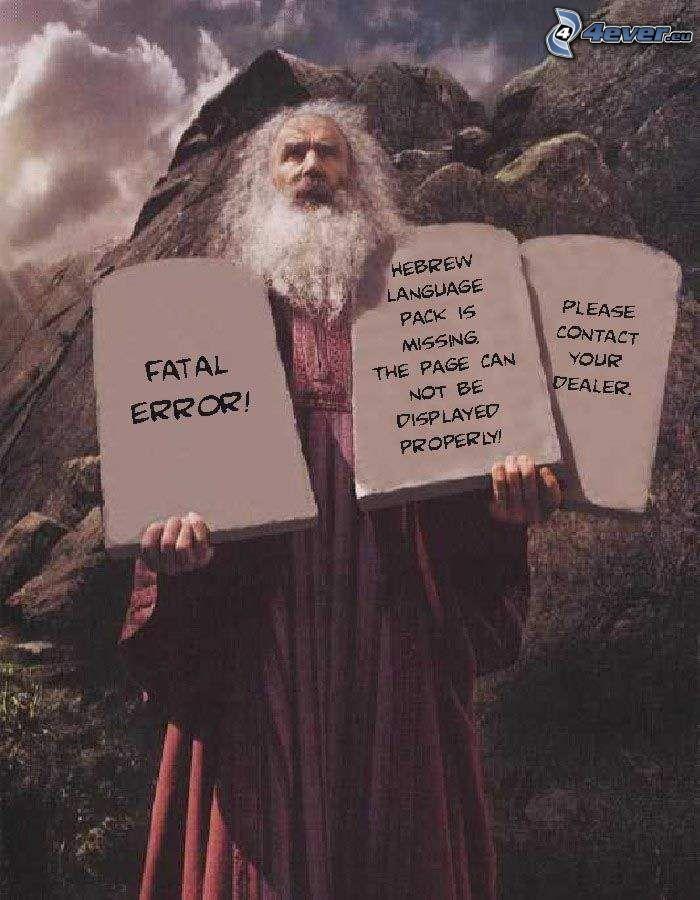 Hebrew language is missing, dziesięcioro przykazań, Mojżesz