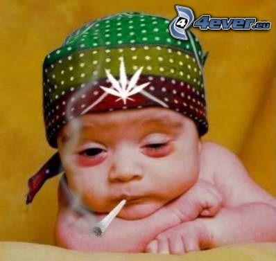 palacz, marihuana, dziecko