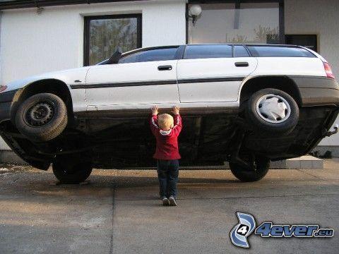 Superman, dziecko, samochód