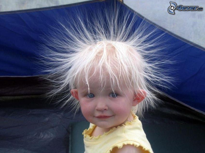 włosy, elektryczność, niemowlaki, fryzura, dziecko