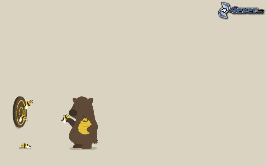 niedźwiedź, miód, strzałki, pszczoły, tarcza