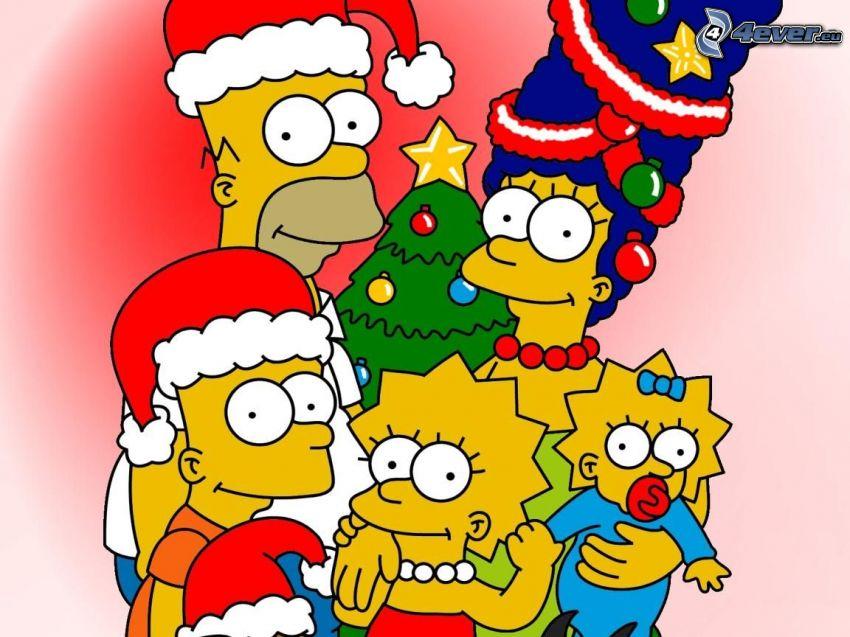 rodzina, boże narodzenie, Simpsonowcy
