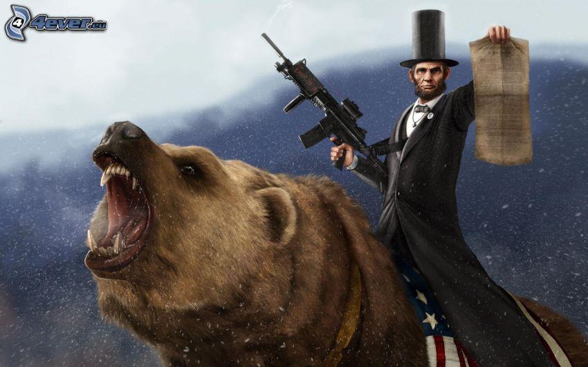 Abraham Lincoln, niedźwiedź, mężczyzna w garniturze, Cylinder, karabin maszynowy
