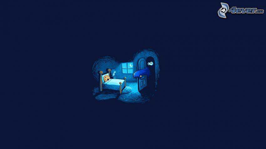 ciastko, łóżko, noc, duch, strach