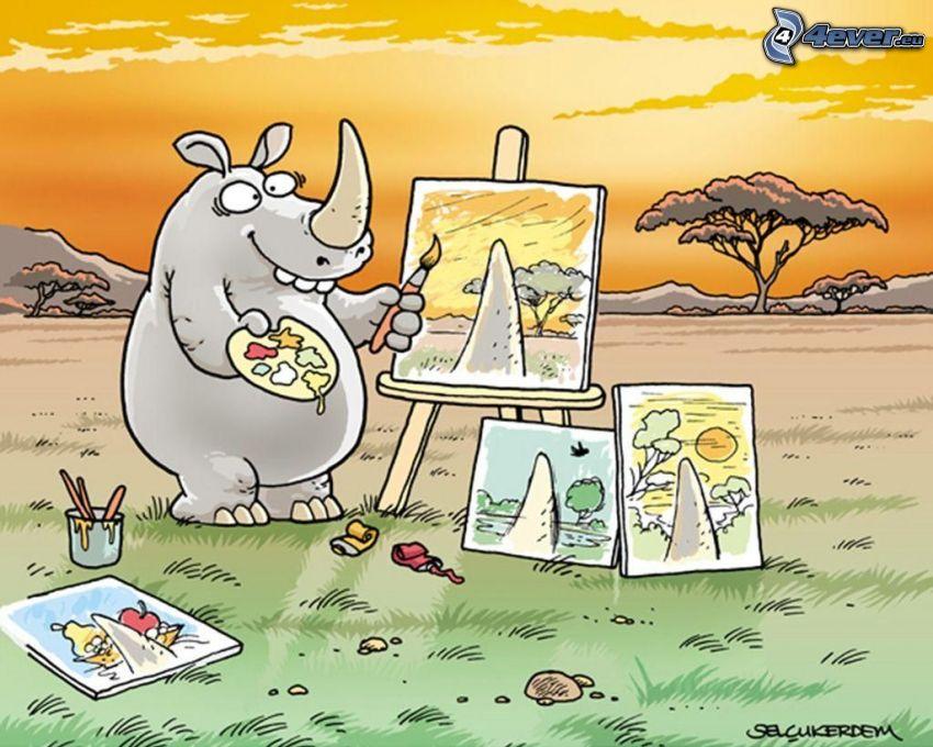 nosorożec, obrazy, zachód słońca na sawannie