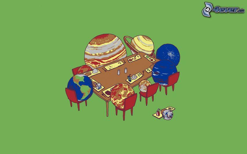 planety, stół, jedzenie