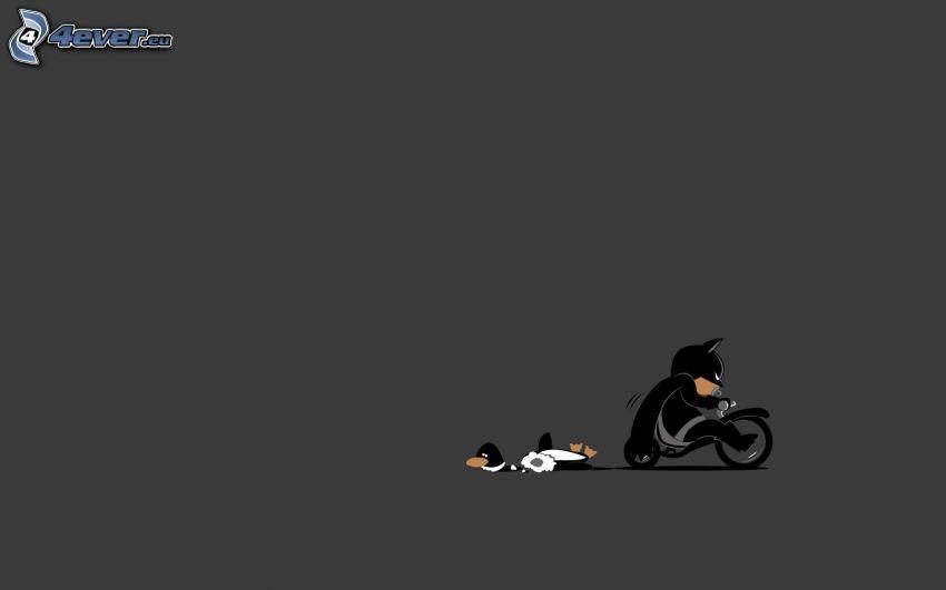 rysunkowa postać, motocykl