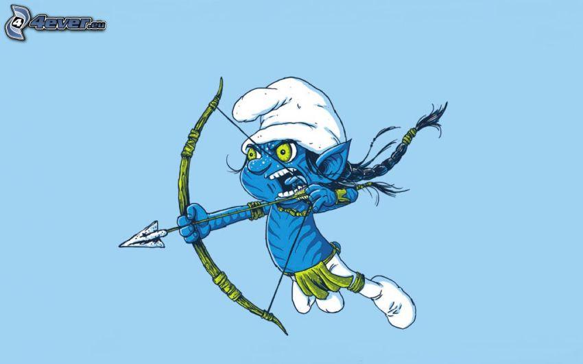 Smerf, Avatar, łuk, strzałka