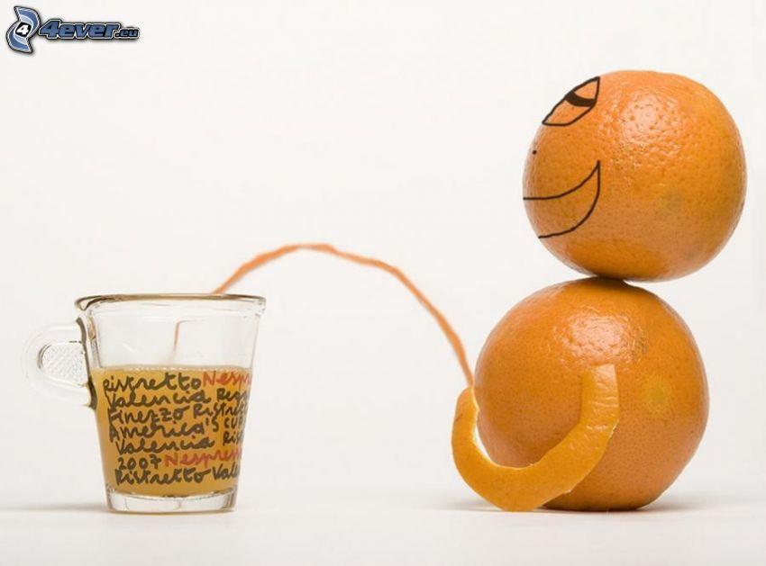 sok pomarańczowy, pomarańcz, szklanka
