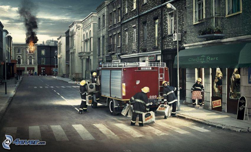 strażacy, zakupy, ulica, pożar
