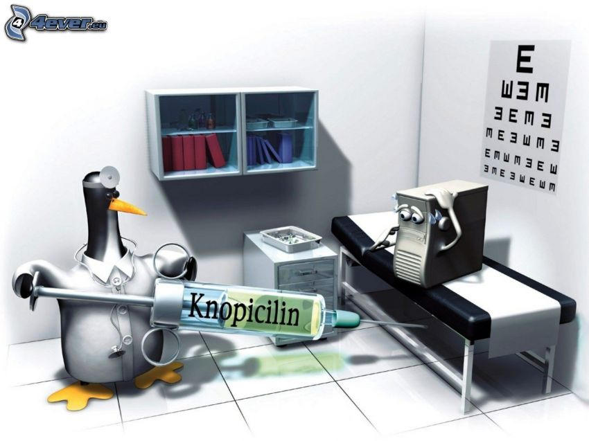 lekarz, Linux, strzykawka, komputer