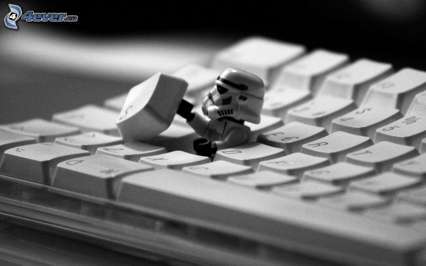 Stormtrooper, klawiatura, Star Wars, parodia
