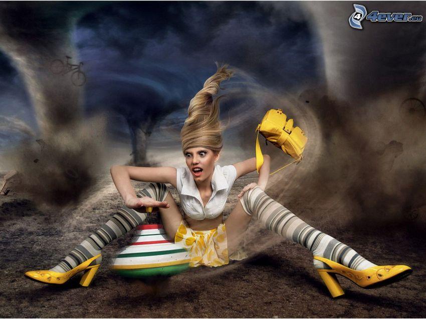 tornado, wiatr, blondynka
