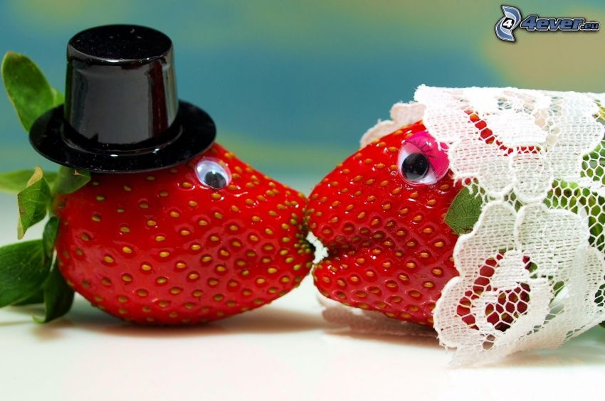 truskawki, ślub, pocałunek, miłość, kapelusz, zasłona