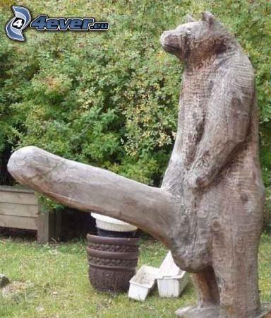 niedźwiedź, penis, posąg