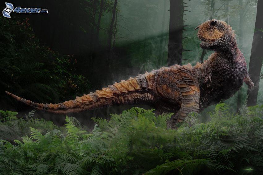 dinozaur, las, paprocie