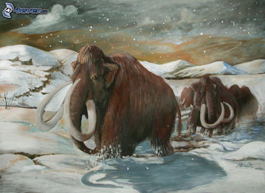 mamuty, śnieg, pasmo górskie, rysowane