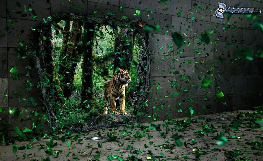 tygrys, ściana, dziura, zielone liście