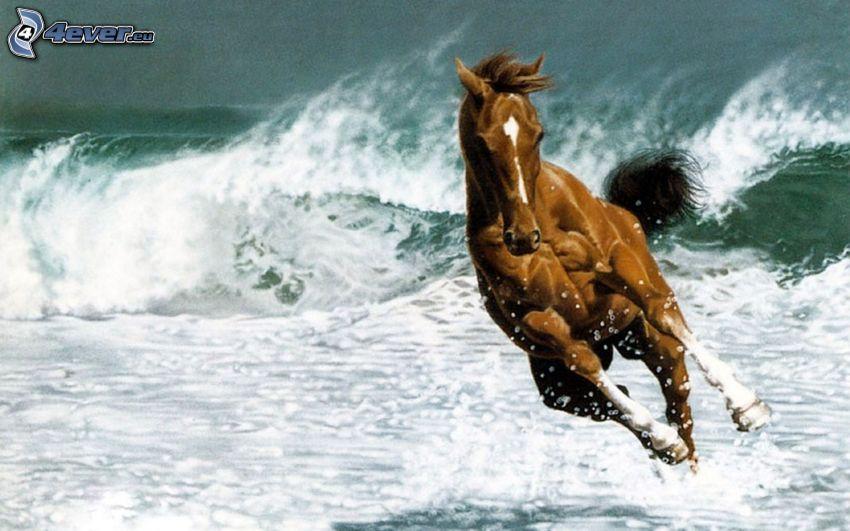 brązowy koń, wburzone morze, fale