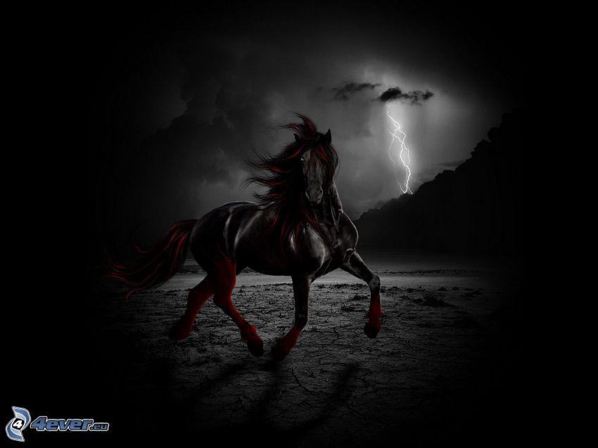 czarny koń, galop, piorun, sztuka cyfrowa