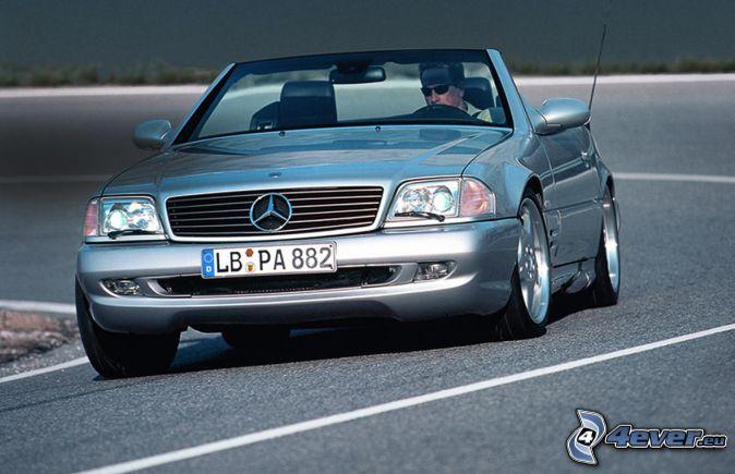 Mercedes SL, kabriolet, cesta, zákruta