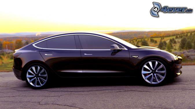 Tesla Model X, západ slnka