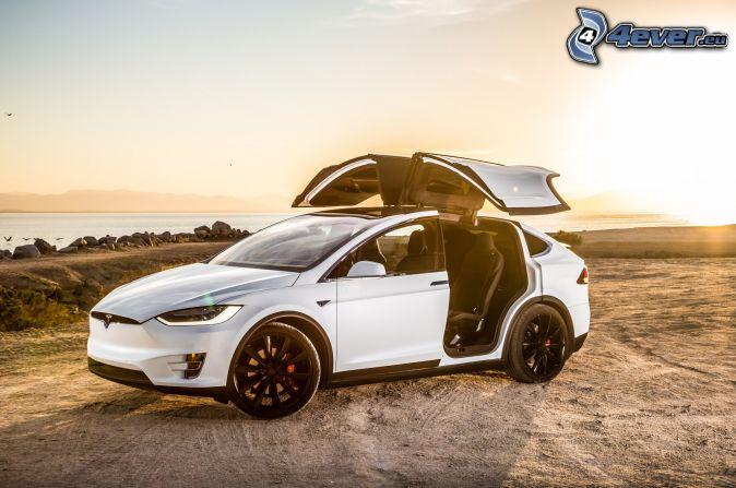 Tesla Model X, dvere, západ slnka