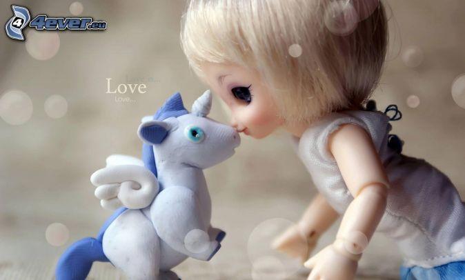 bábika, jednorožec, love
