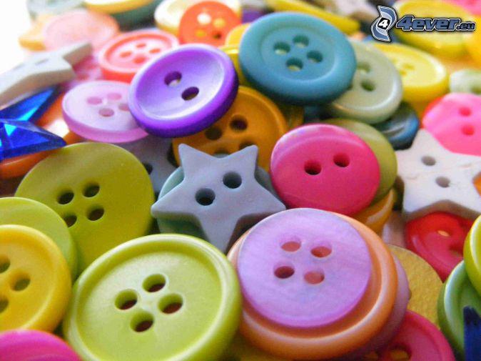 gombíky, farby, hviezdy