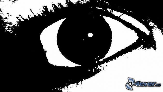 Oko , čiernobiele