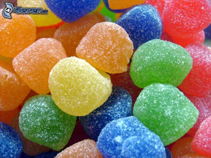 farebné cukríky, gumené cukríky