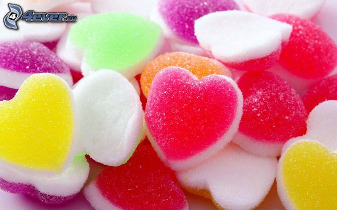 farebné cukríky, srdiečka