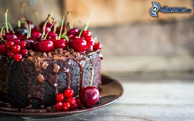 torta, čerešne