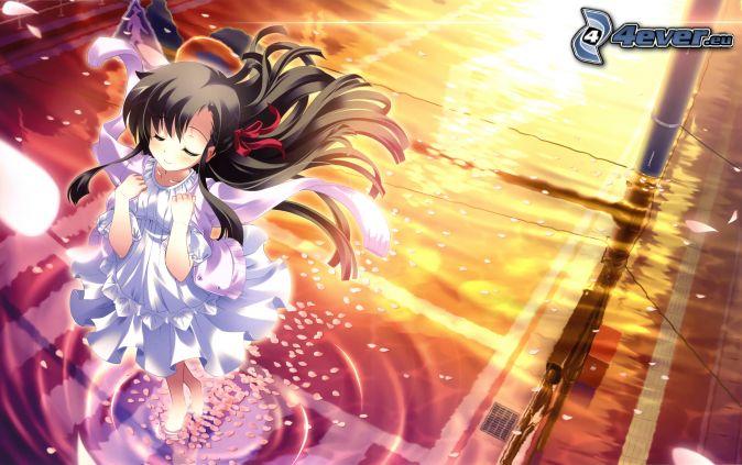 anime dievča, biele šaty