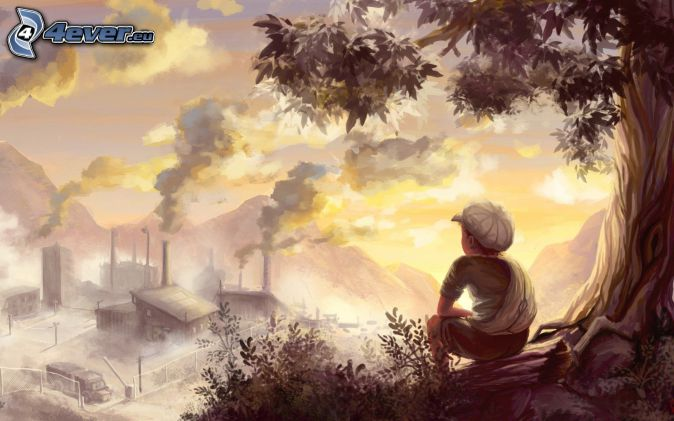 chlapec, továreň, výhľad, pohoria