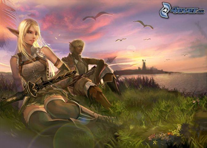 elfovia, pobrežie, západ slnka