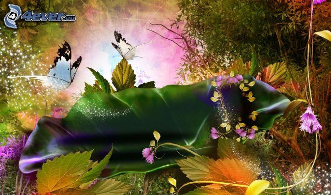 motýle, kreslené kvety