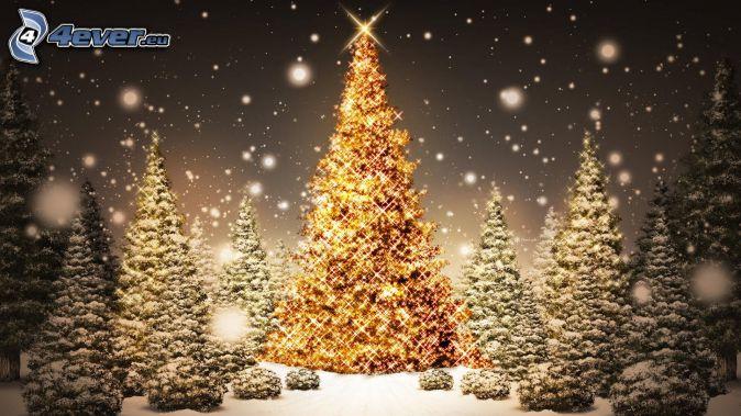 osvetlené stromy, zasnežené stromy, sneženie