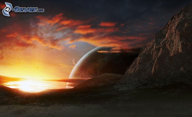 skalnaté hory, planéta, západ slnka