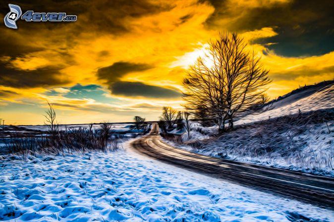 zasnežená krajina, cesta, oranžová obloha, slnko za oblakmi