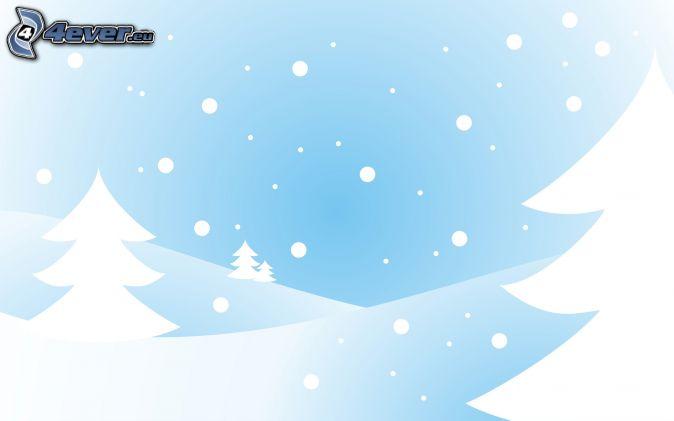 ihličnaté stromy, sneženie